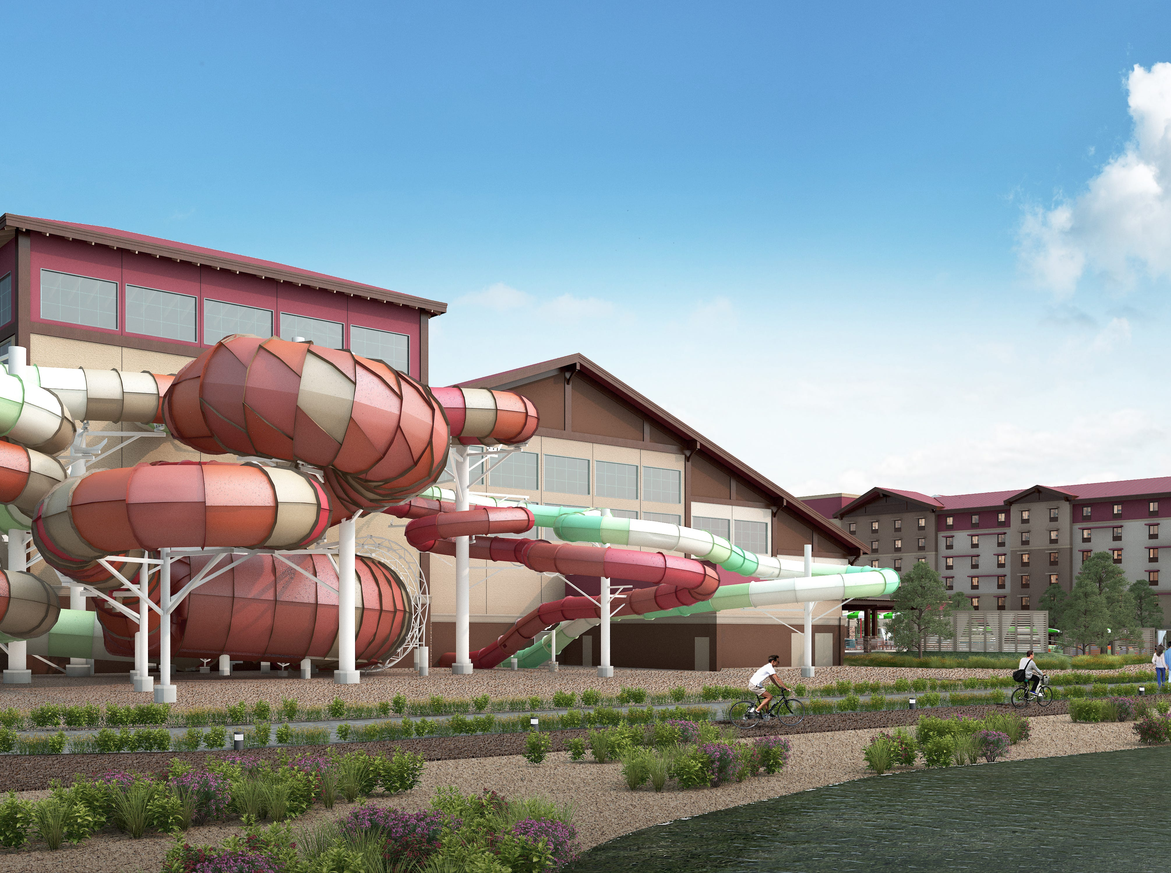 The waterslides at the Great Wolf Lodge Arizona will go outside the building. One of the slides imitates the scales of a rattlesnake. The resort will have raft rides and a slide with a 20-foot free fall for thrill seekers.