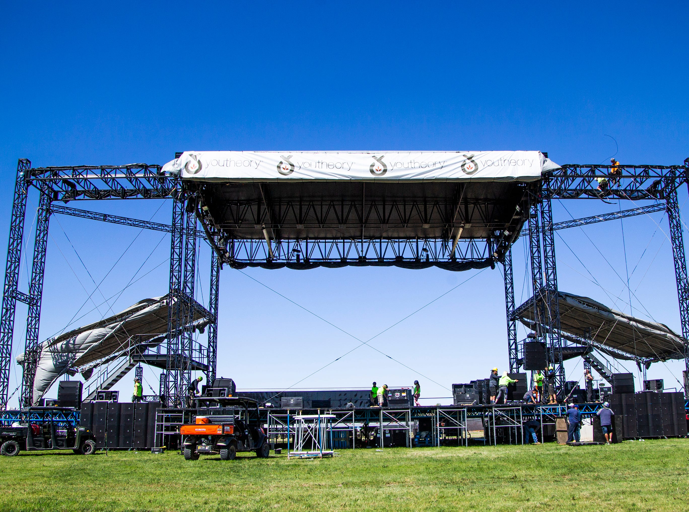 Construction continues on the soundboard platform at the Country Thunder Arizona 2019 music festival outside Florence April 10, 2019.