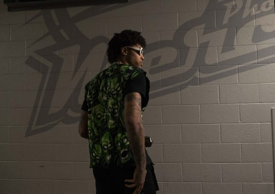 Kelly Oubre Jr. is seen during the Suns' exit interviews on April 10 at Talking Stick Resort Arena.