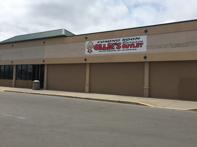 A sign for Ollie's Bargain Outlet has appeared outside the old location of Great Lakes Ace Hardware and Dollar Treasure, pictured on April 10, 2019.