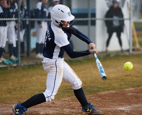 John Jay's Jaycee Filancia makes contact with a pitch during Tuesday's game versus Suffern on April 9, 2019.