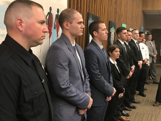 The City of Poughkeepsie Police Department swore-in seven recruits on Wednesday, April 4, bringing the department back to full force at 92 officers. The recruits, from left to right: Robert Prince, Kyriacos Kyriacou, Paul Henne, Danielle M. Costa, Kevin Smith, Justin Consalvo and Gregory Schweizer.