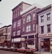 Second from the right, the building at 56 N. Main St., Chambersburg, which is being demolished the week of April 8, was the home of the Rainbow Restaurant when this photo was taken on Dec. 21, 1972. It was last the home of Wogan's Uniform Center, which closed in 2012. All the buildings around it are long gone. The King Street Church parking lot currently sets to the left of the building.