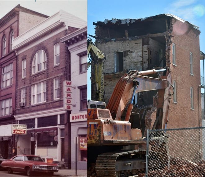 The old Wogan's Uniform Center building at 56 N. Main St., Chambersburg, pictured at left on Dec. 21, 1972 when it was the home of the Rainbow Restaurant, and at right on April 10, 2019, as it is being demolished.