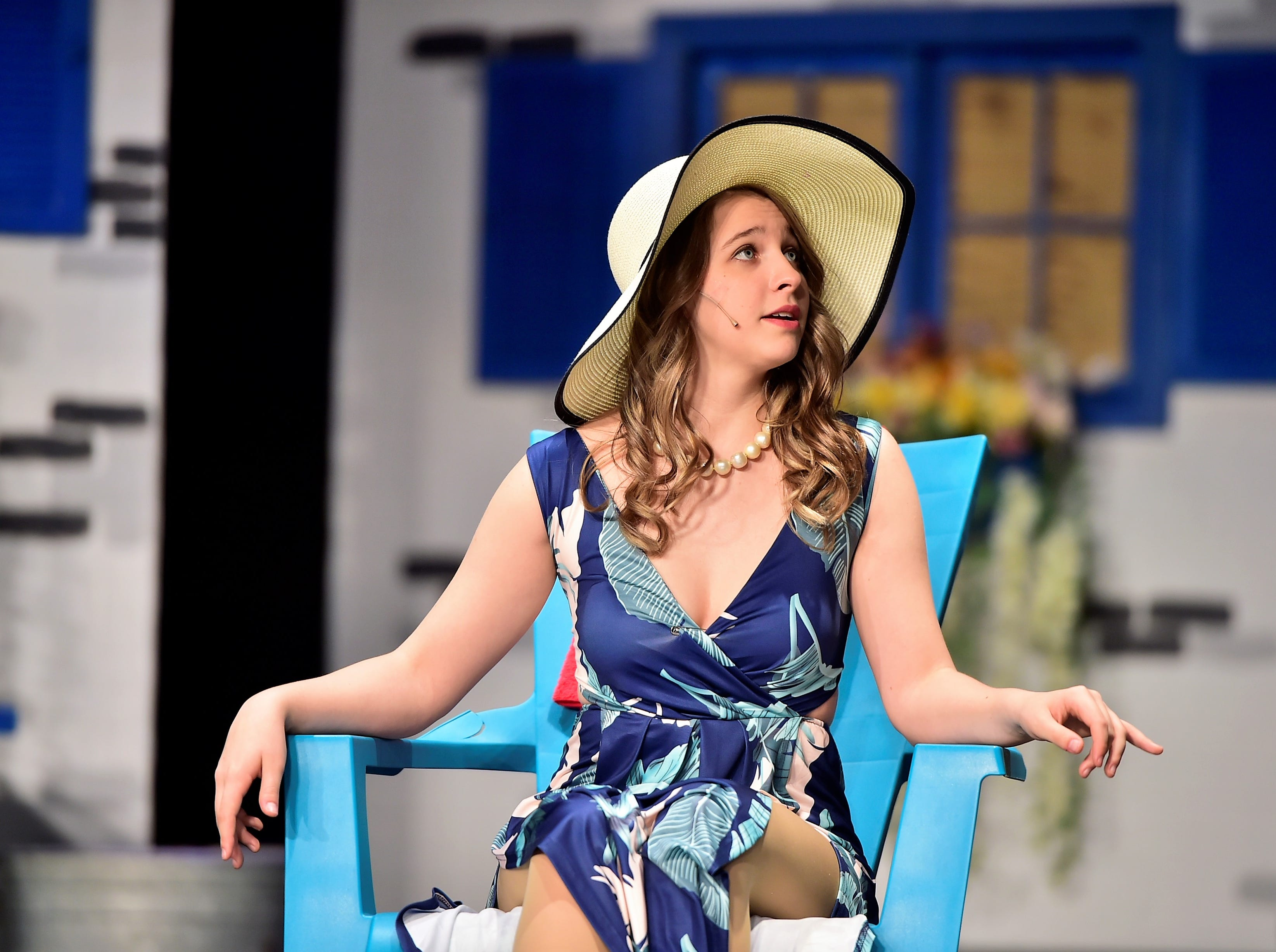 "Alydia Marangoni plays Tanya in ""Mamma Mia!"" during a rehearsal on April 9, 2019.  The Chambersburg Area Senior High School Drama Club will perform the popular musical at 7:30 p.m. Friday and Saturday and 2:30 p.m. Saturday. Tickets ($8 for adults, $5 for students/children) will be sold at the door; no reserved seating. For more information, call 717-261-3322, ext. 80401."