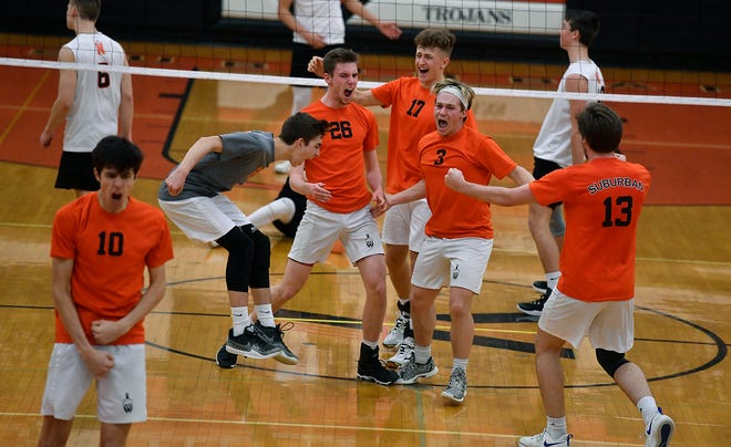 York Suburban players celebrate during the 2019 season. The Trojans put six players on the Class 2-A all-state team selected by the Pennsylvania Volleyball Coaches Association.