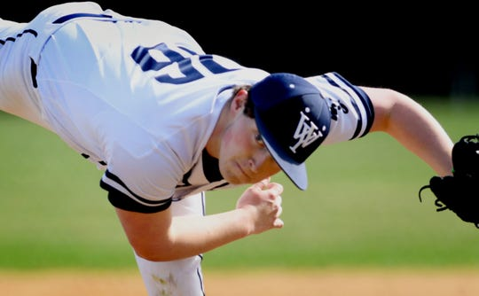 West York pitcher Gabe Allen follows through after delivering to a York High batter during a game at Shiloh Wednesday, April 10, 2019. Bill Kalina photo