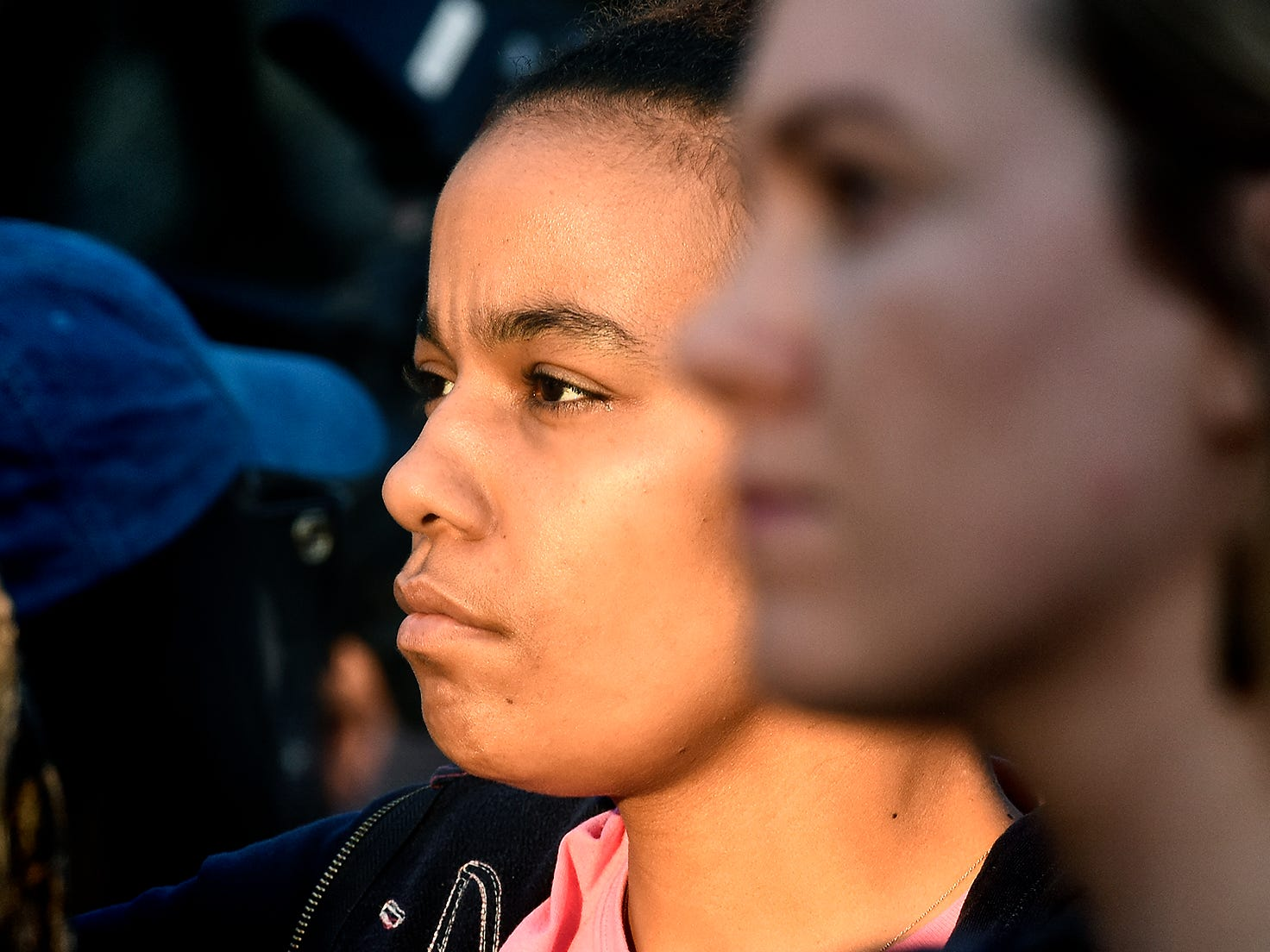 Ty Clark of York City listens to speakers during a gathering  at the Colonial Courthouse during the 33rd annual Crime Victims' Rights March and Candlelight Vigil Tuesday, April 9, 2019. Participants gathered at the courthouse for a presentation before marching to Trinity United Church of Christ for a ceremony and candlelight vigil. The York County Victims' Rights Coalition sponsored the event. Bill Kalina photo