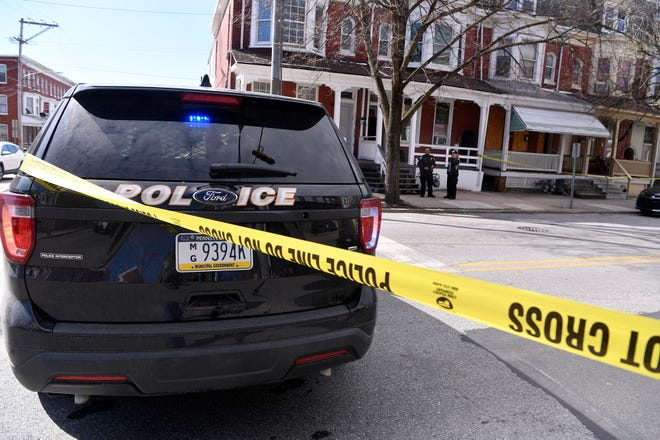 York City Police and the York County Coroner's Office investigate a shooting in the 700 block of W. Princess Street, Wednesday, April 10, 2019.