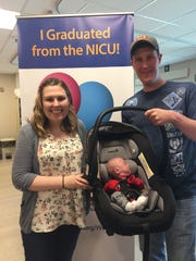 Liam McDannell, the first baby of 2019 born in York County, graduated from his neonatal intensive care stay at York Hospital and was sent home with his mother, Mary McDannell (left) and father, James Brown (right) on Tuesday, April 9.