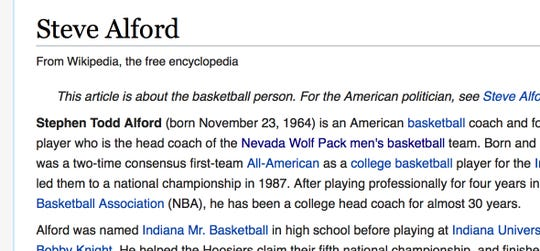 A screenshot taken from Steve Alford's page at Wikipedia.org on April 10, 2019.