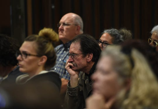 People listen during the second round of public comments and questions on proposed changes to the Burning Man at the Pershing County Community Center in Lovelock on Tuesday evening April 9, 2019. The Bureau of Land Management hosted the event.