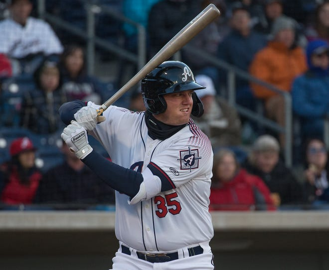 Aces infielder Kevin Cron bats during the 2019 opening day game between the Reno Aces and the Albuquerque Isotopes at Greater Nevada Field on April 9.