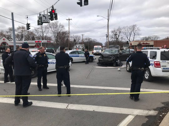 A Rochester Police chase ended in a crash at Buffalo and Howard roads in Gates on Tuesday.