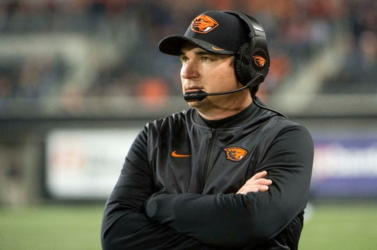 Nov 3, 2018; Corvallis, OR, USA; Oregon State Beavers head coach Jonathan Smith walks the sidelines during the second half against the USC Trojans at Reser Stadium. The Trojans beat the Beavers 38-21. Mandatory Credit: Troy Wayrynen-USA TODAY Sports