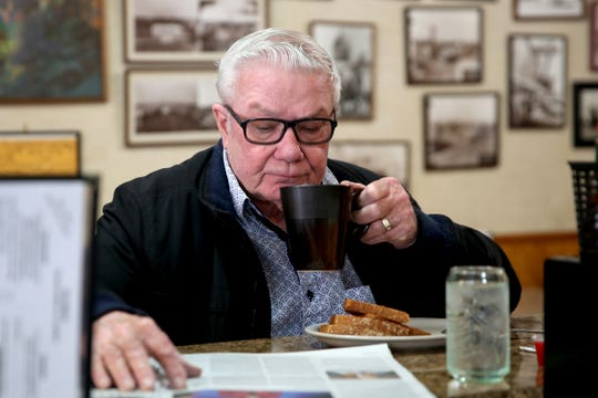 Dennis Brown, of Salem, has his regular breakfast of coffee and toast at the Court Street Dairy Lunch in downtown Salem on April 10, 2019. The old-fashioned diner opened in 1929 and is the city's oldest restaurant.