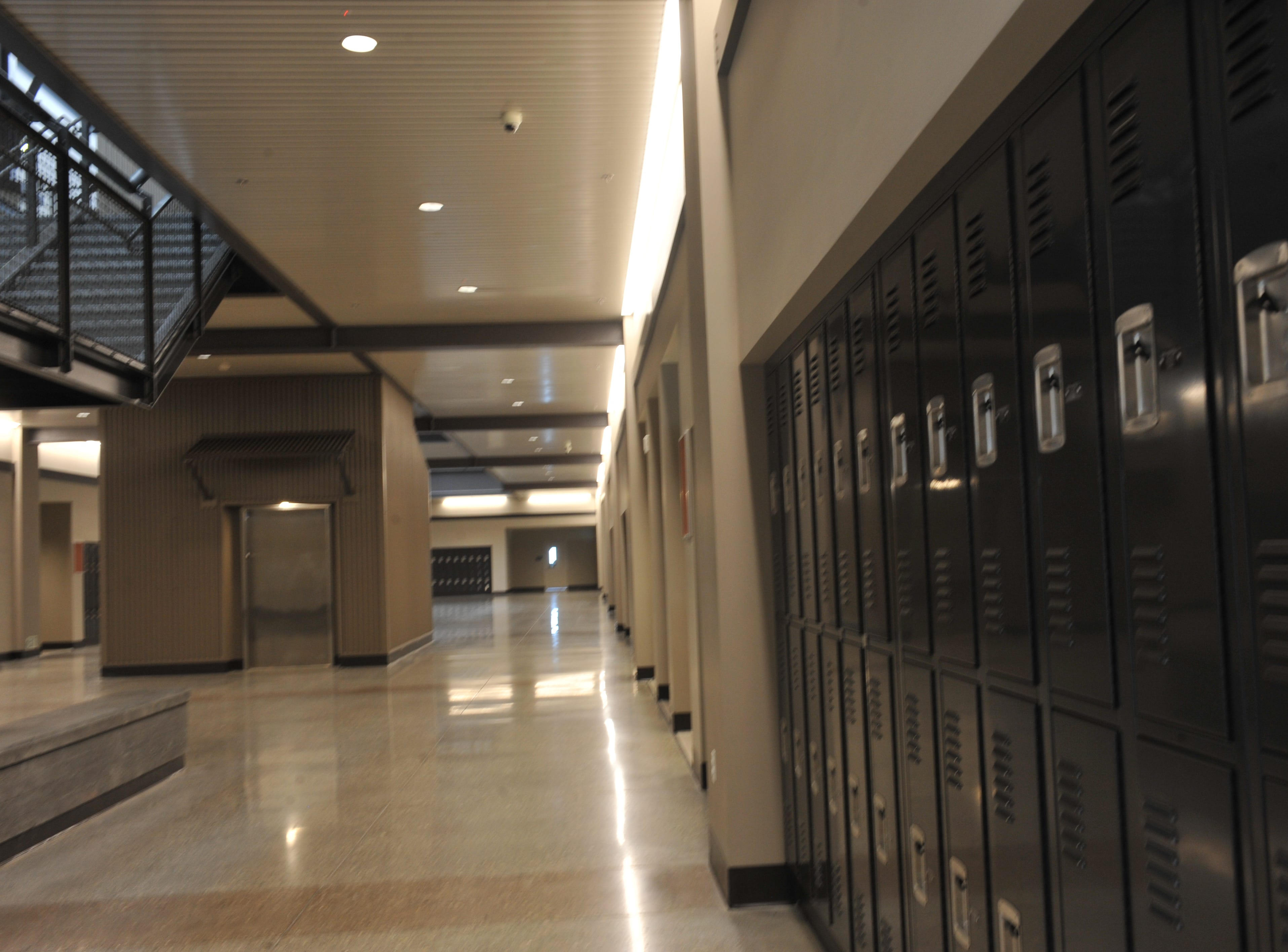 Lockers at Rancho San Juan High School, which is set to open in fall 2019.
