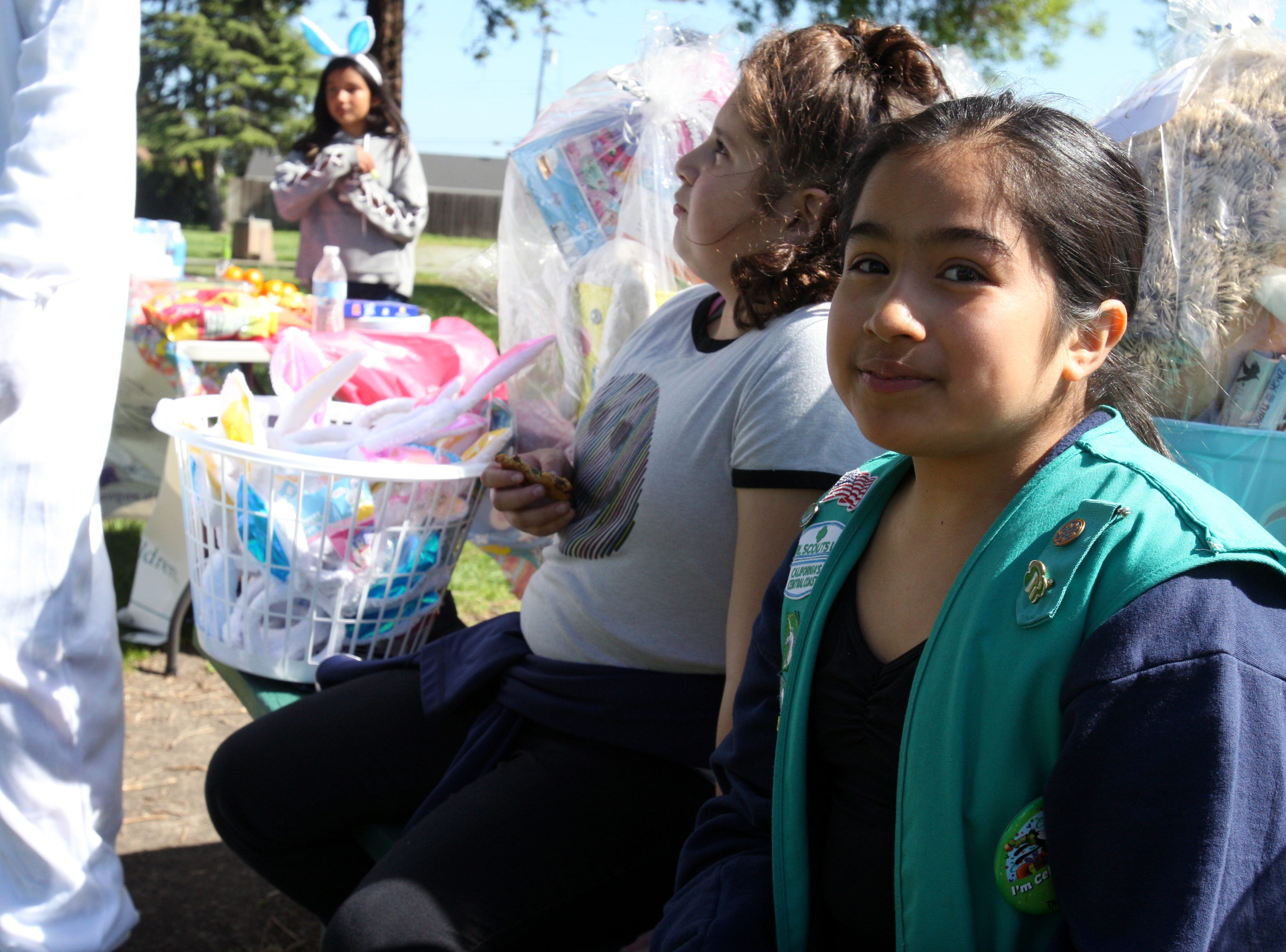 Girl scouts put together 75 baskets for special-needs Salinas kids in anticipation of Tuesday's Easter Bunny Surprise Party.