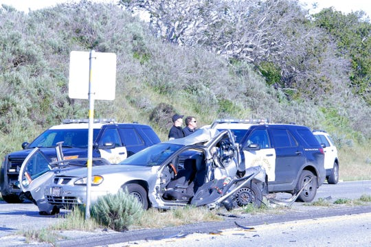 California Highway Patrol officers investigate a fatal crash on Reservation Road south of Blanco Road April 9, 2019.