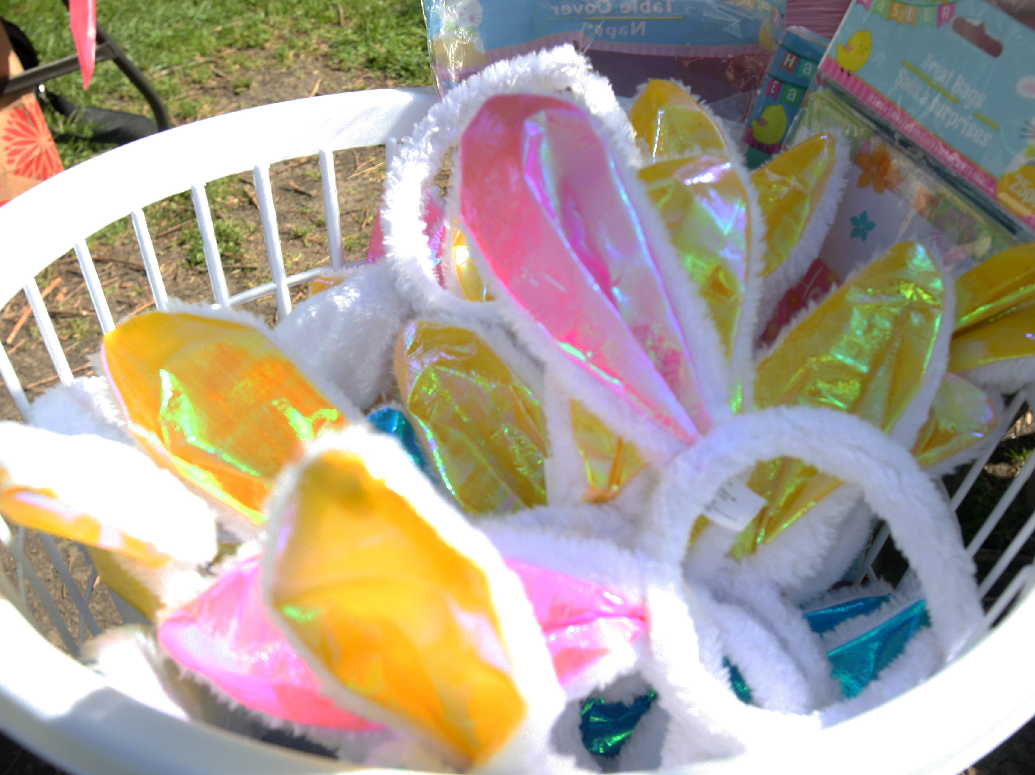 A basket of bunny ears waited for the kids attending the Easter Bunny Surprise Party Tuesday.