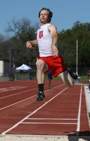 Miles' Mason Bryan competes in the boys long jump at the Districts 7&8-2A Area Track and Field Meet Wednesday, April 10, 2019, at Mertzon Irion County.