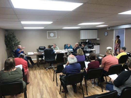 The Robert Lee City Council discussing agenda items after the city secretary had been dismissed Tuesday, April 9, 2019.