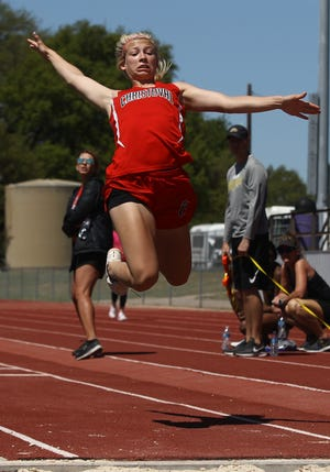 Christoval High School's Allison Vaughn competes in the girls triple jump at the Districts 7&8-2A Area Track and Field Meet Wednesday, April 10, 2019, at Mertzon Irion County.
