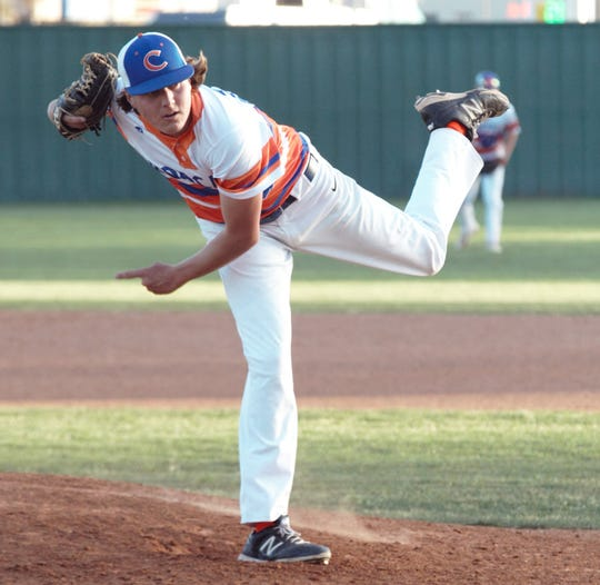 San Angelo Central High School pitcher Trey Neslage threw his first career no-hitter in a 1-0 win against Abilene High in a District 3-6A baseball game at Nathan Donksy Field Tuesday, April 9, 2019.