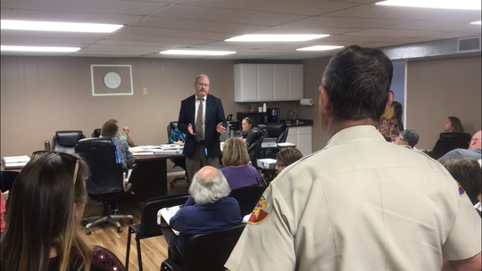 Sheriff Wayne McCutchen discussing a possible threat made by city attorney Jeff Betty in Robert Lee Tuesday, April 9, 2019.