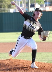 Abilene High pitcher Ryan Johnson fires a pitch in a District 3-6A baseball game against San Angelo Central at Nathan Donsky Field Tuesday, April 9, 2019.