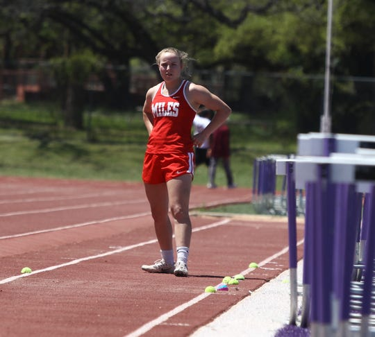Miles' Skyler Brooks mentally prepares for an attempt in the girls long jump at the Districts 7&8-2A Area Track and Field Meet Wednesday, April 10, 2019 at Mertzon Irion County.