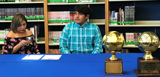 San Angelo Lake View soccer player Tyler Davis signed a scholarship with Southwestern Assemblies of God University Wednesday, April 10, 2019.