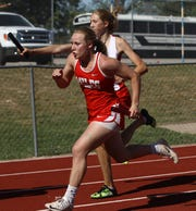 Miles High School's Skyler Brooks runs after getting the baton in the girls 4x200-meter relay at the Districts 7&8-2A Area Track and Field Meet Wednesday, April 10, 2019 at Mertzon Irion County.
