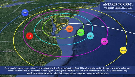 This visibility map of the Mid-Atlantic illustrates potential viewing opportunities in the region of the launch of Northrop Grumman's Antares rocket from NASA's Wallops Flight Facility in Virginia.