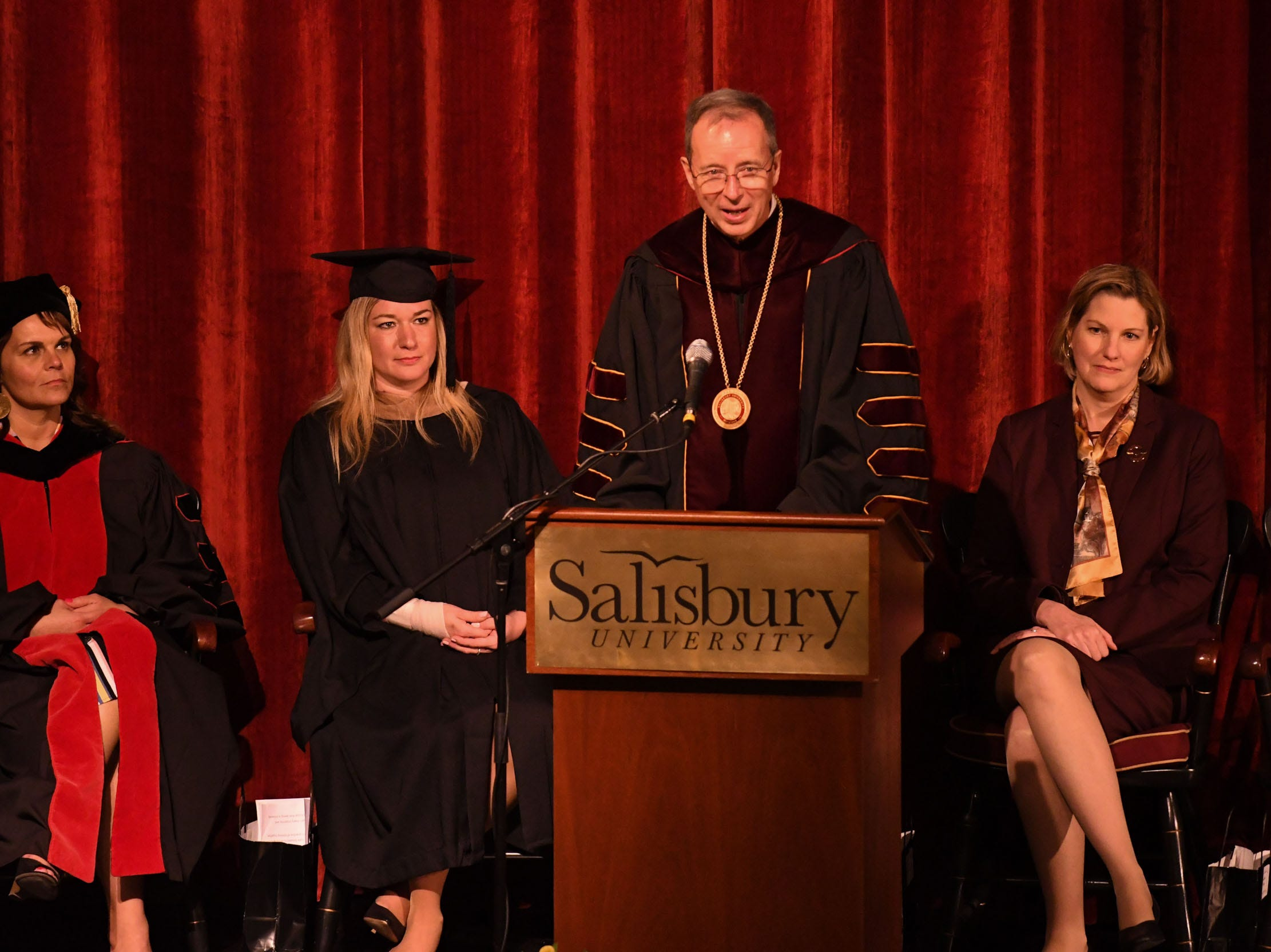 "Dr. Charles ""Chuck"" Wight was inaugurated as Salisbury University's ninth president on Wednesday, April 10, 2019 during a ceremony held at Holloway Hall on the campus of Salisbury University."