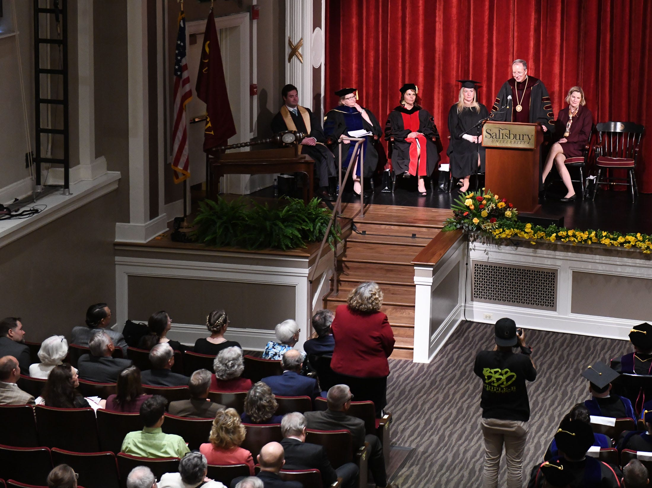 "Dr. Charles ""Chuck"" Wight thanks former University President Janet Dudley-Eshbach during his inauguration as Salisbury University's ninth president on Wednesday, April 10, 2019 during a ceremony held at Holloway Hall on the campus of Salisbury University."