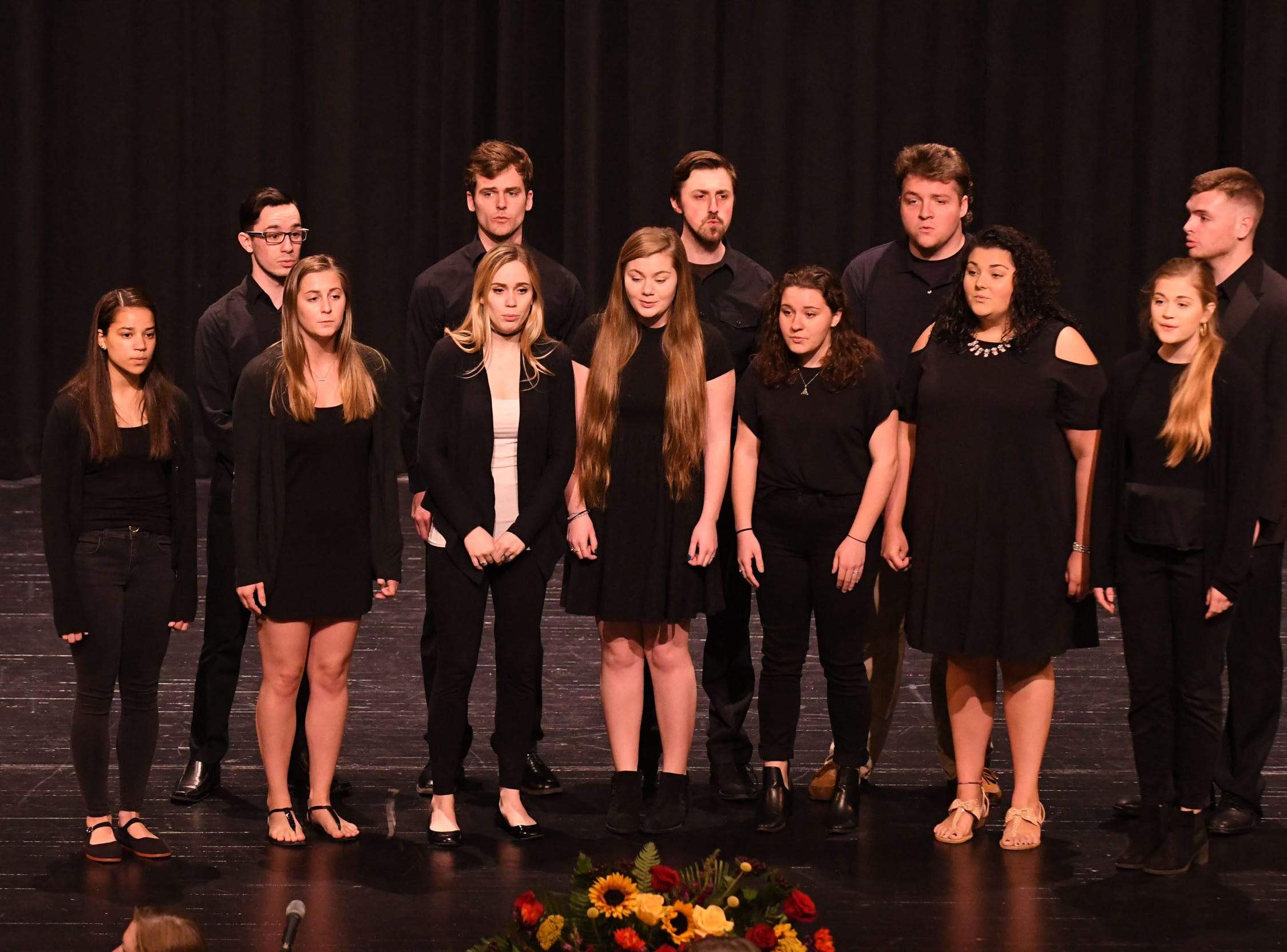 The Star-Spangled Banner was sang by the Salisbury University Squawkapella during the inauguration of Dr. Charles A. Wight as Salisbury University's ninth president on Wednesday, April 10, 2019 during a ceremony held at Holloway Hall on the campus of Salisbury University.