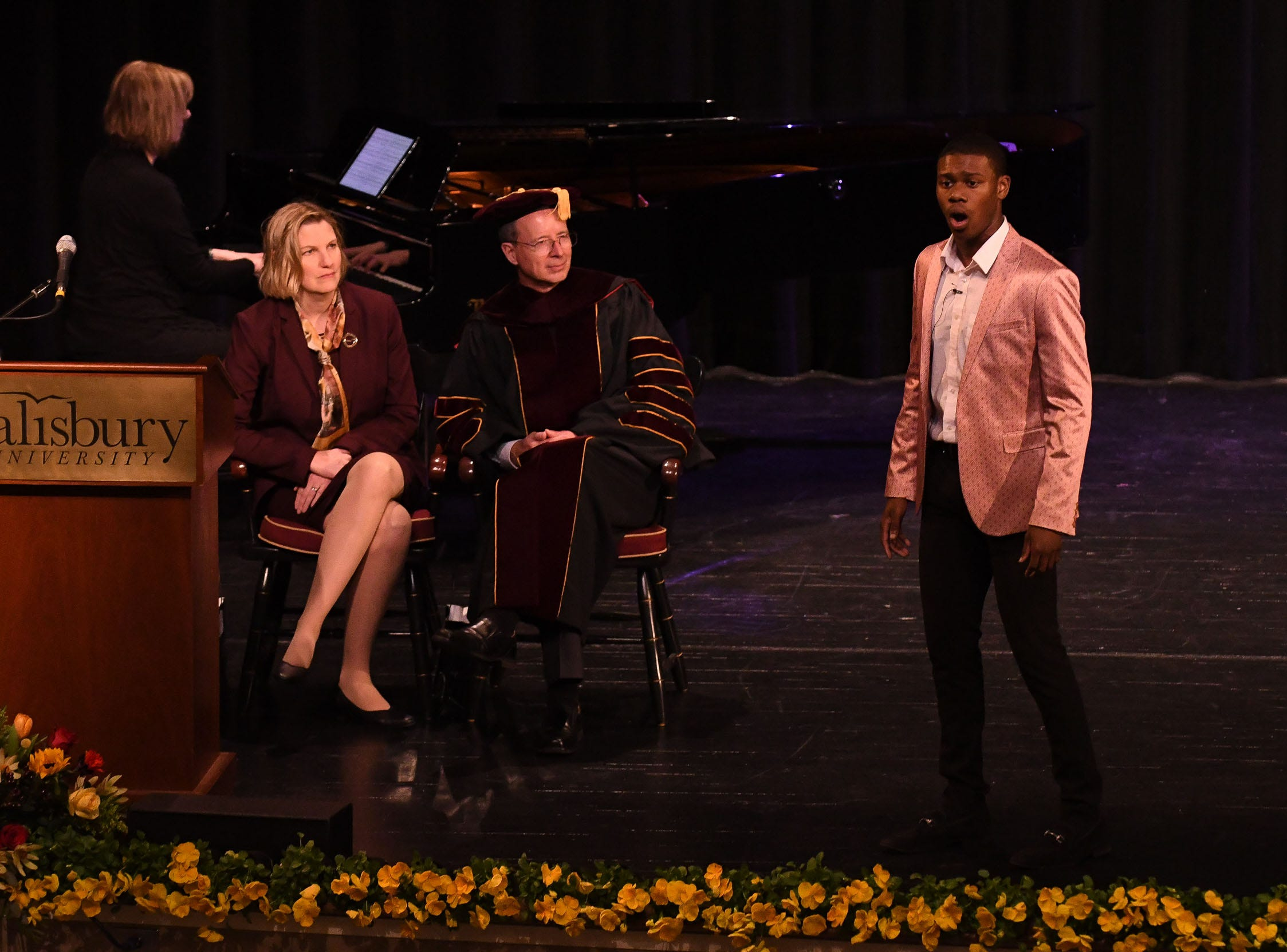 "Salisbury University student Jeremiah Copeland, performers ""Corner of the Sky"" from Pippin, during the inauguration of Dr. Charles A. Wight as Salisbury University's ninth president on Wednesday, April 10, 2019 during a ceremony held at Holloway Hall on the campus of Salisbury University."