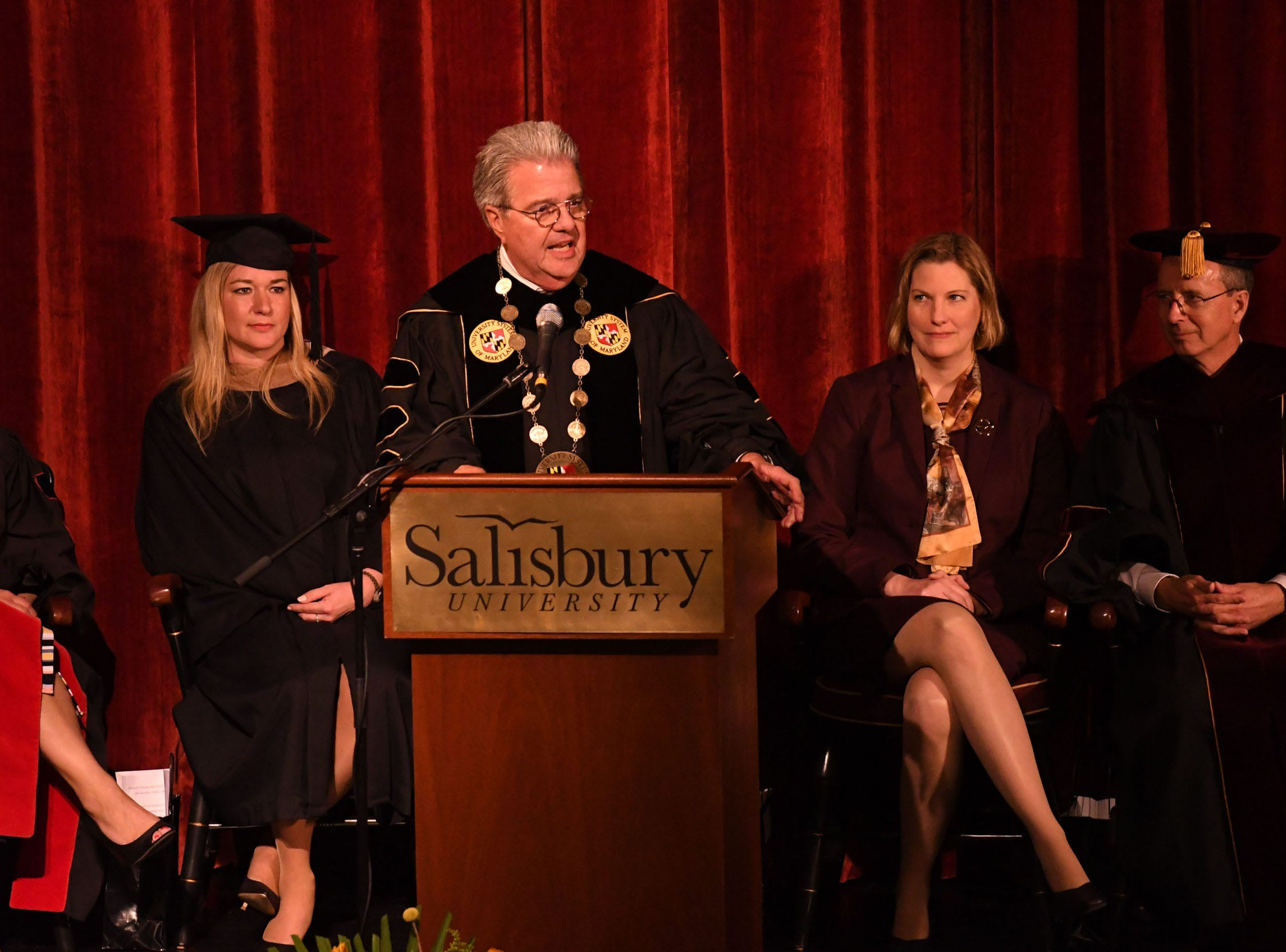 University System of Maryland Chancellor Dr. Robert Caret, speaks during the inauguration of Dr. Charles A. Wight as Salisbury University's ninth president on Wednesday, April 10, 2019 during a ceremony held at Holloway Hall on the campus of Salisbury University.