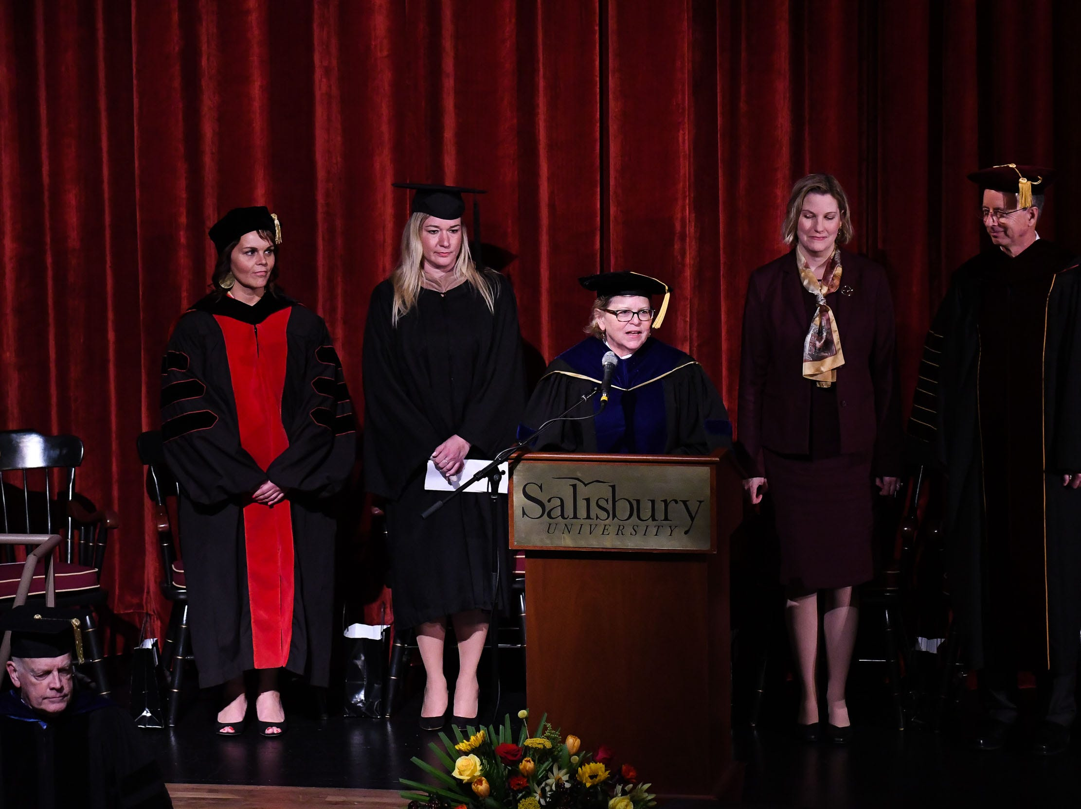 Dr. Karen Olmstead, Provost & Senior Vice President Academic Affairs, welcomes everyone to the inauguration of Dr. Charles A. Wight as Salisbury University's ninth president on Wednesday, April 10, 2019 during a ceremony held at Holloway Hall on the campus of Salisbury University.