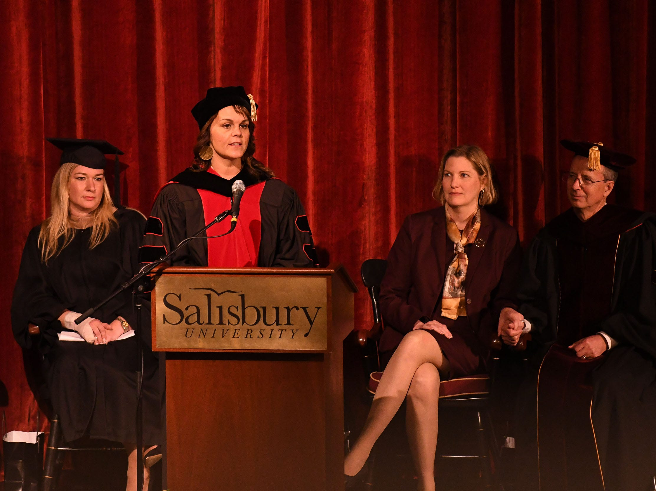 Dr. Jennifer Jewell, Vice President, Salisbury University Faculty Senate, speaks during the inauguration of Dr. Charles A. Wight as Salisbury University's ninth president on Wednesday, April 10, 2019 during a ceremony held at Holloway Hall on the campus of Salisbury University.