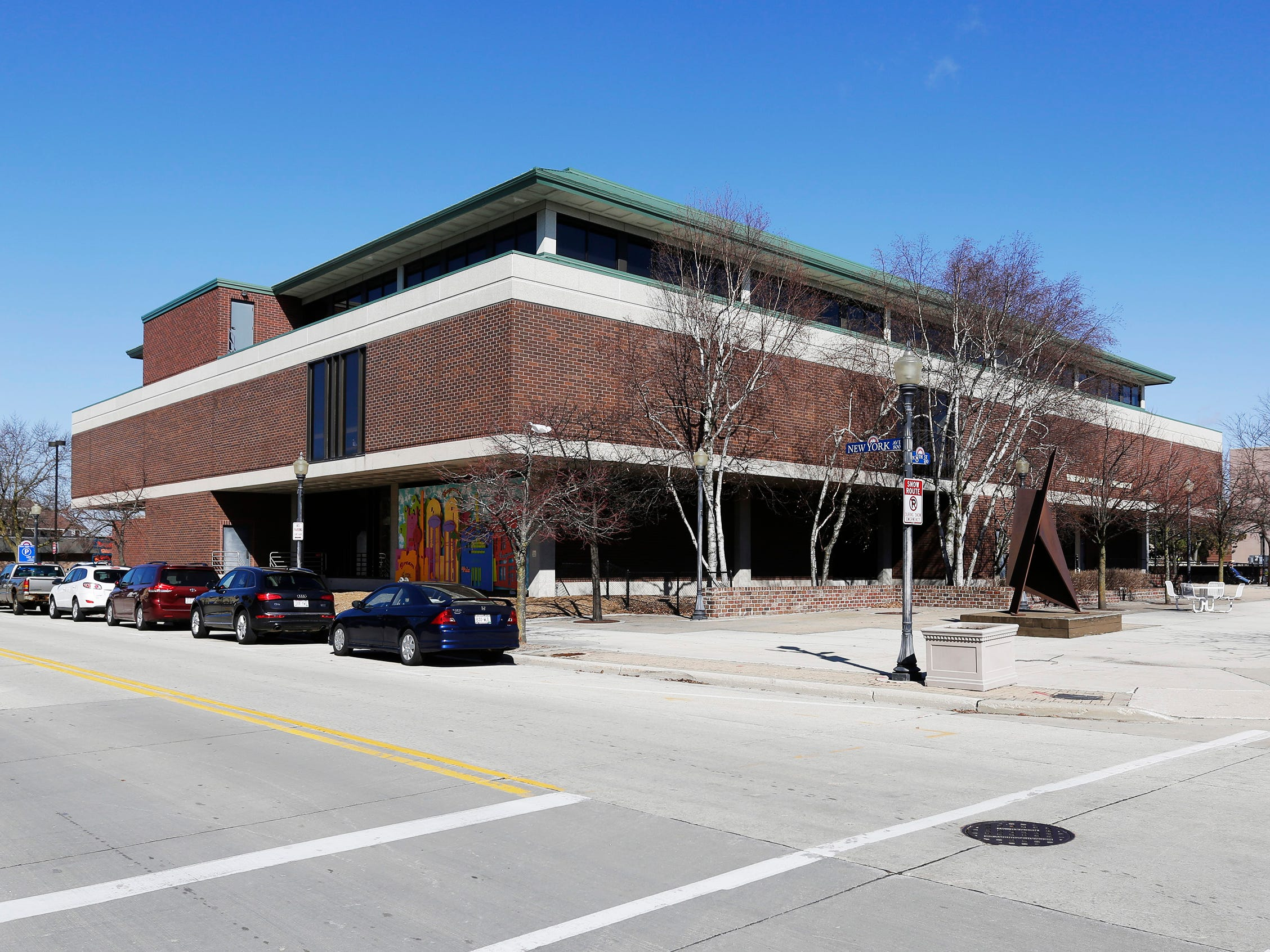 A view of the southeast view of Mead Public Library, Tuesday, April 9, 2019, in Sheboygan, Wis.