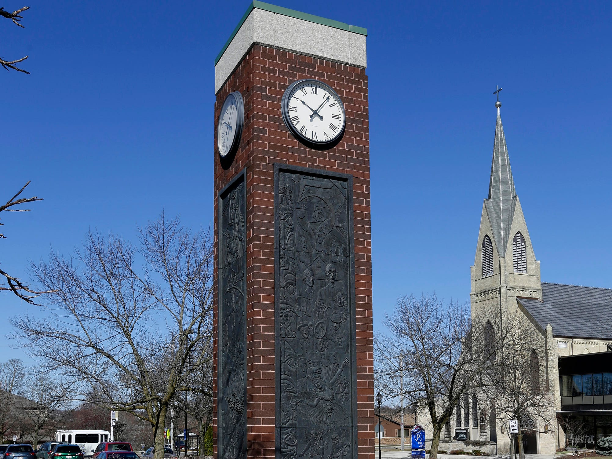 A east view of the clock tower at Mead Public Library, Tuesday, April 9, 2019, in Sheboygan, Wis.