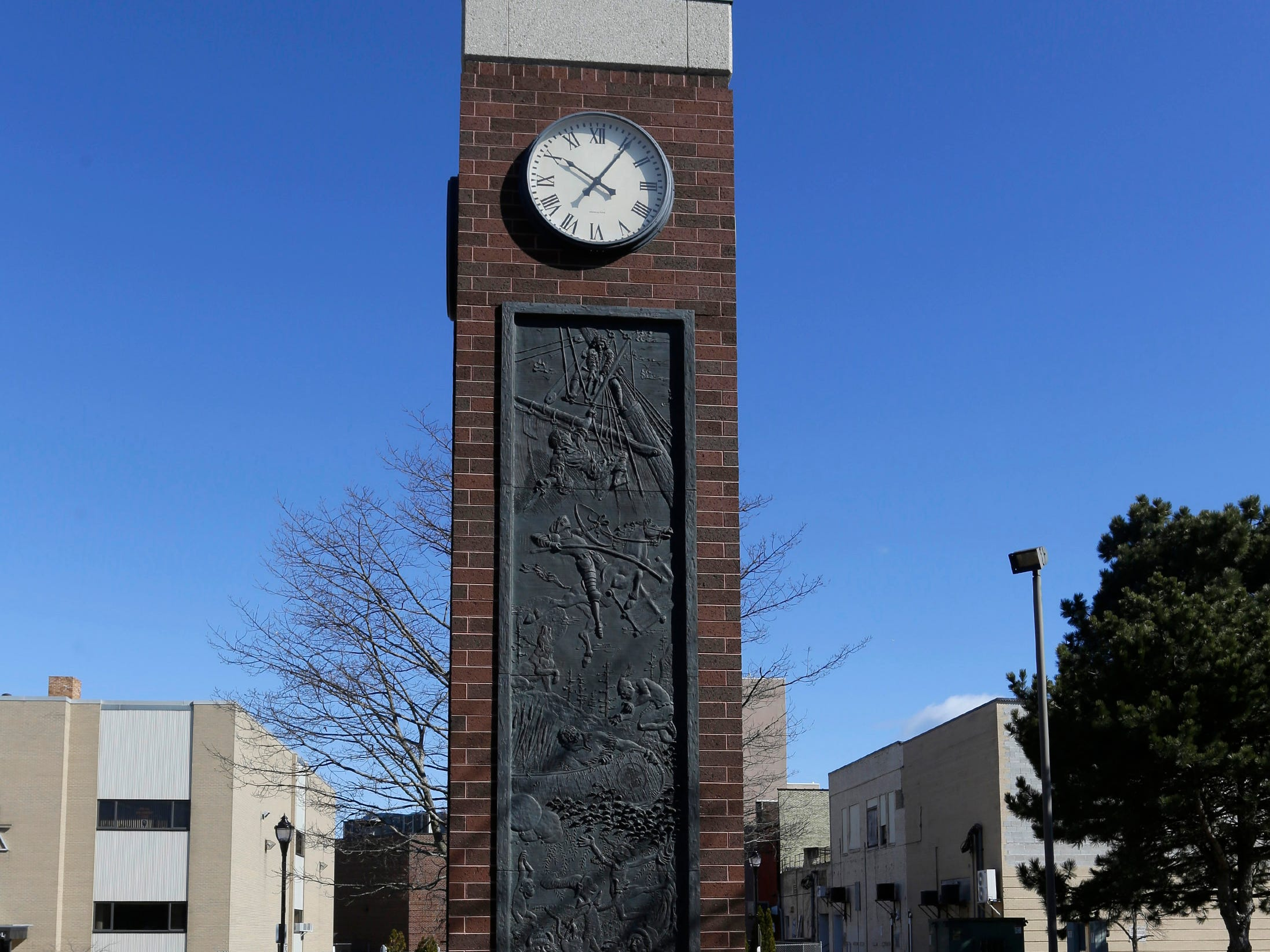 A view of the clock tower at Mead Public Library, Tuesday, April 9, 2019, in Sheboygan, Wis.