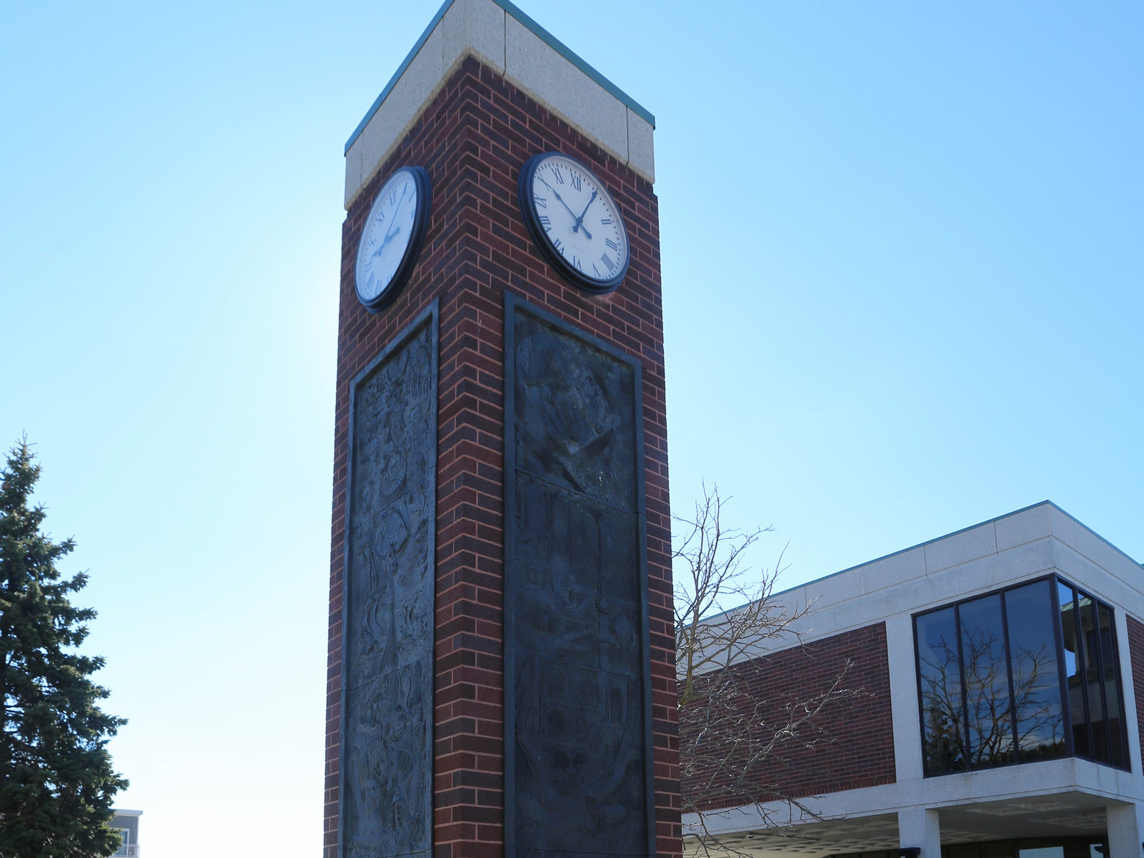A view of the clock tower which includes a view of the quiet room area at Mead Public Library, Tuesday, April 9, 2019, in Sheboygan, Wis.
