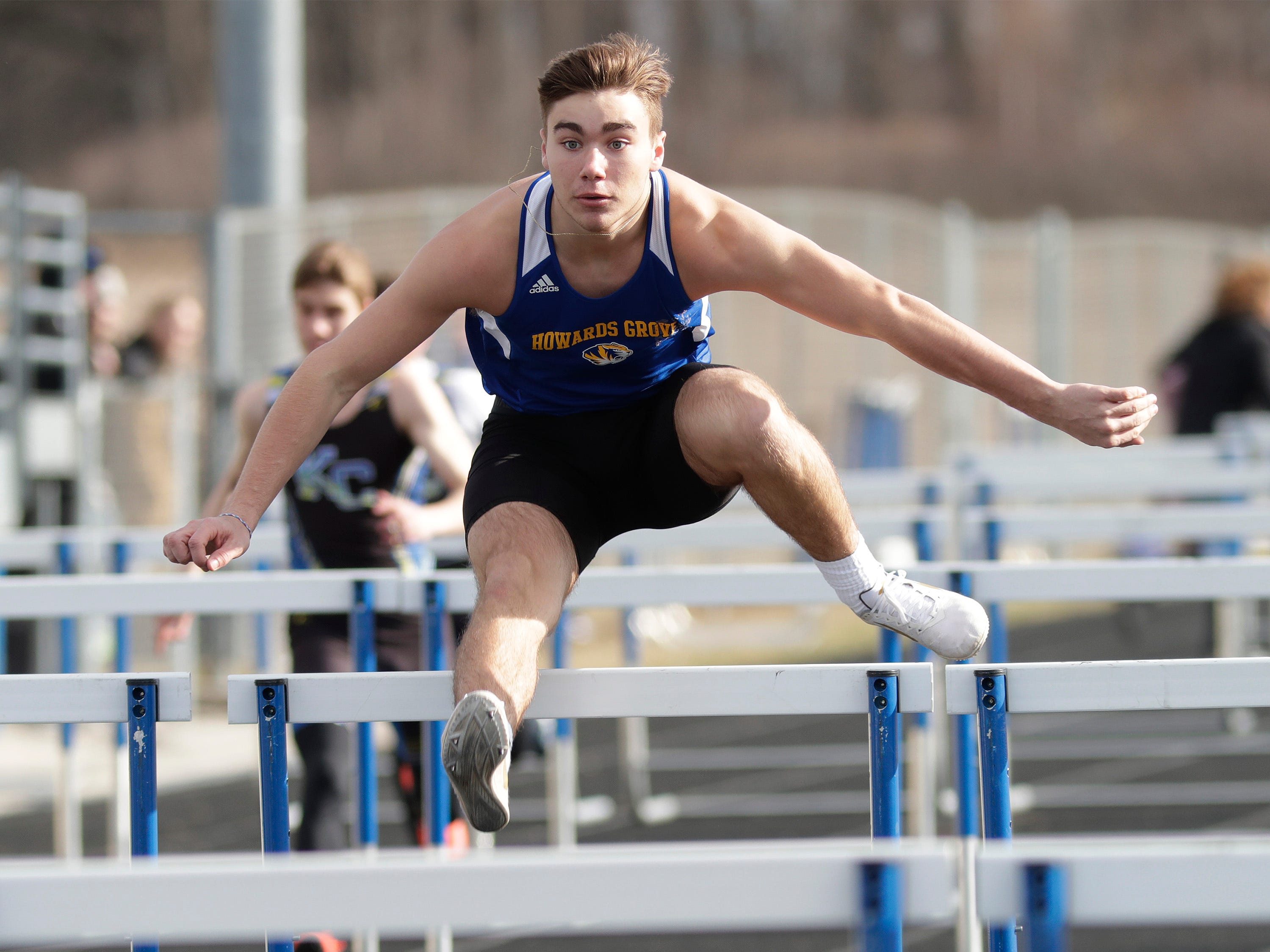 Howards Grove's Gavin Winter kept the pace to win the 110 high hurdles at the Howards Grove track meet, Tuesday, April 9, 2019, in Howards, Wis.