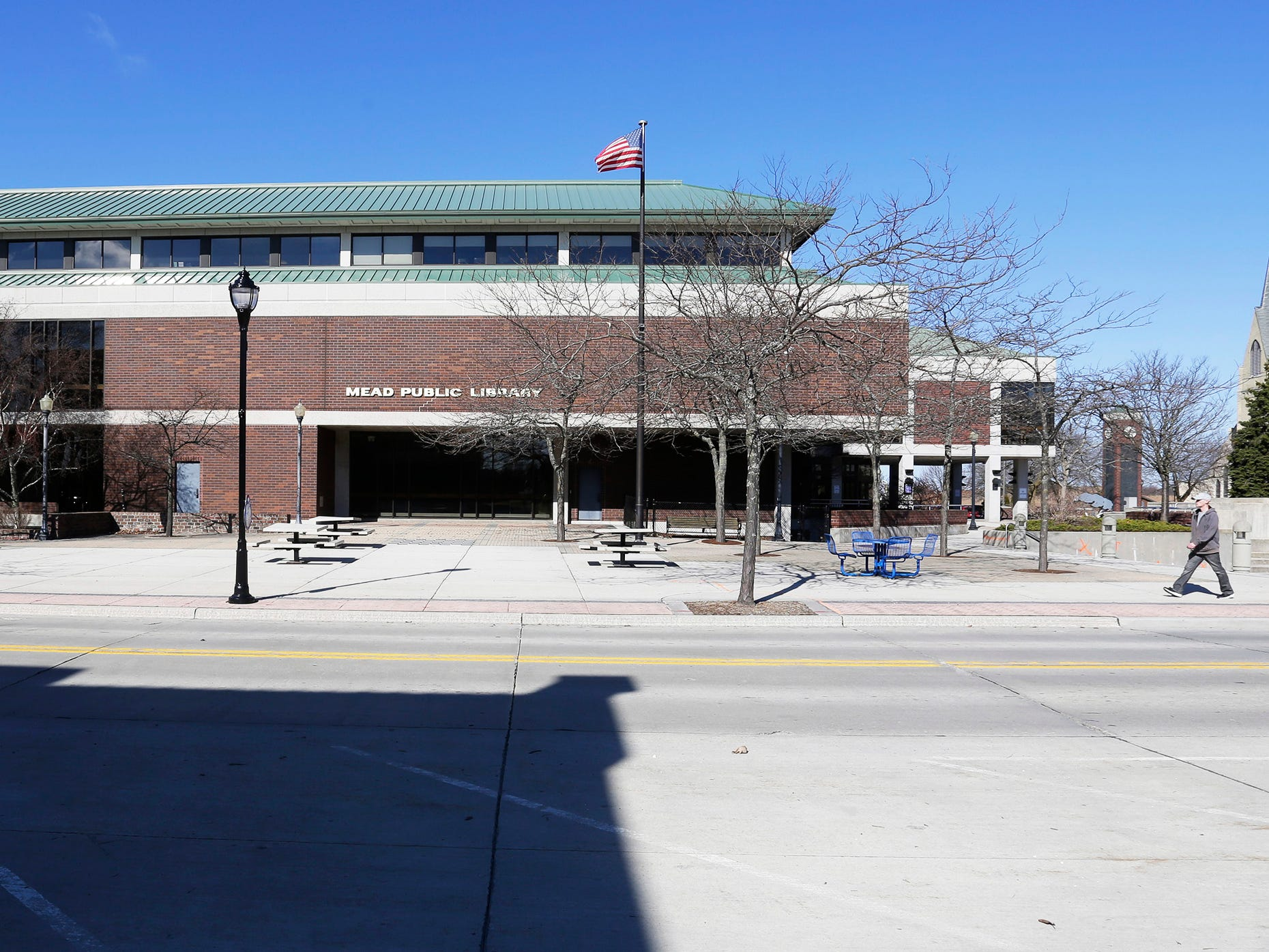 A view of the east side of Mead Public Library, Tuesday, April 9, 2019, in Sheboygan, Wis.