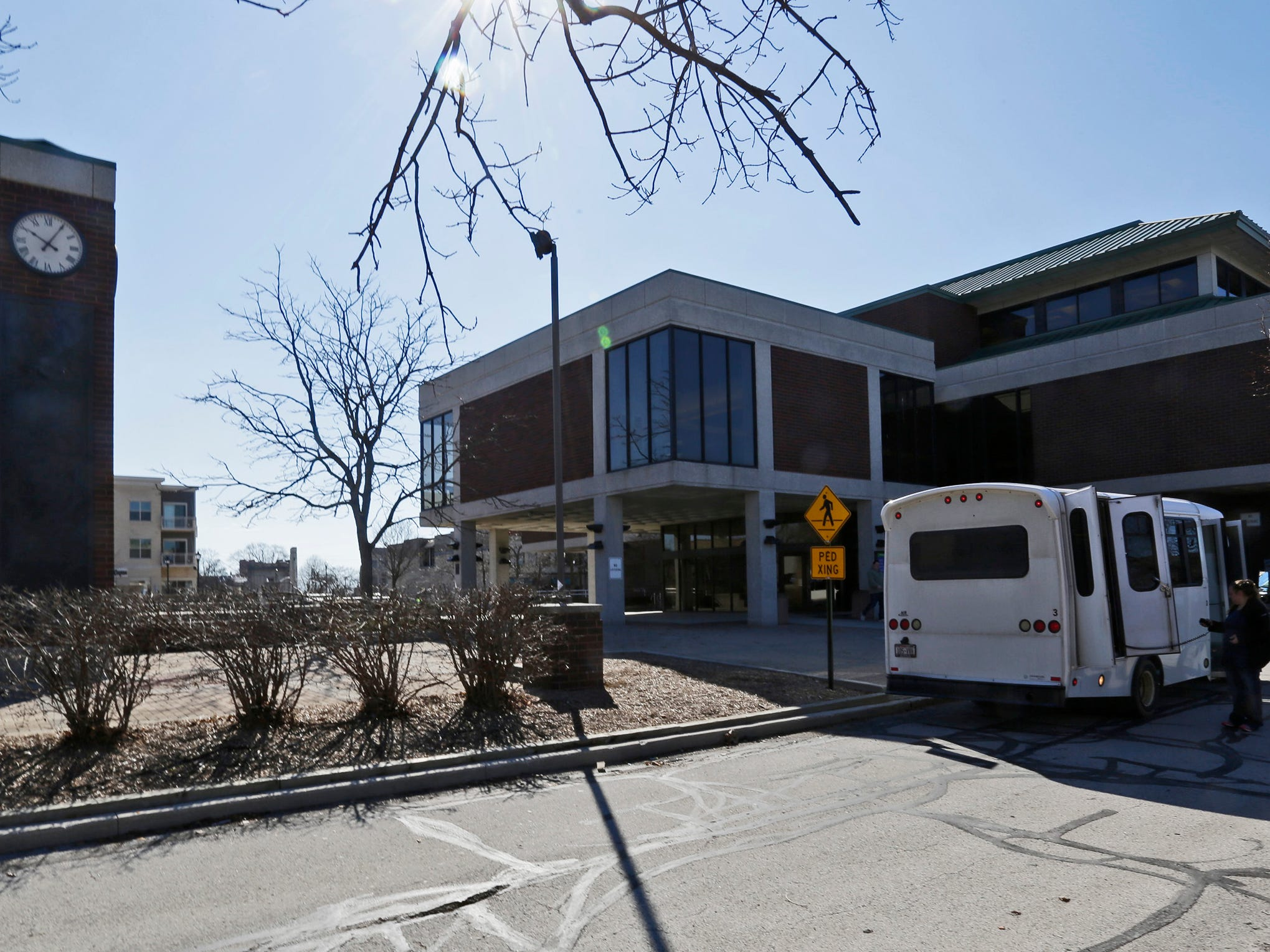 A view of the clock tower area at Mead Public Library, Tuesday, April 9, 2019, in Sheboygan, Wis.