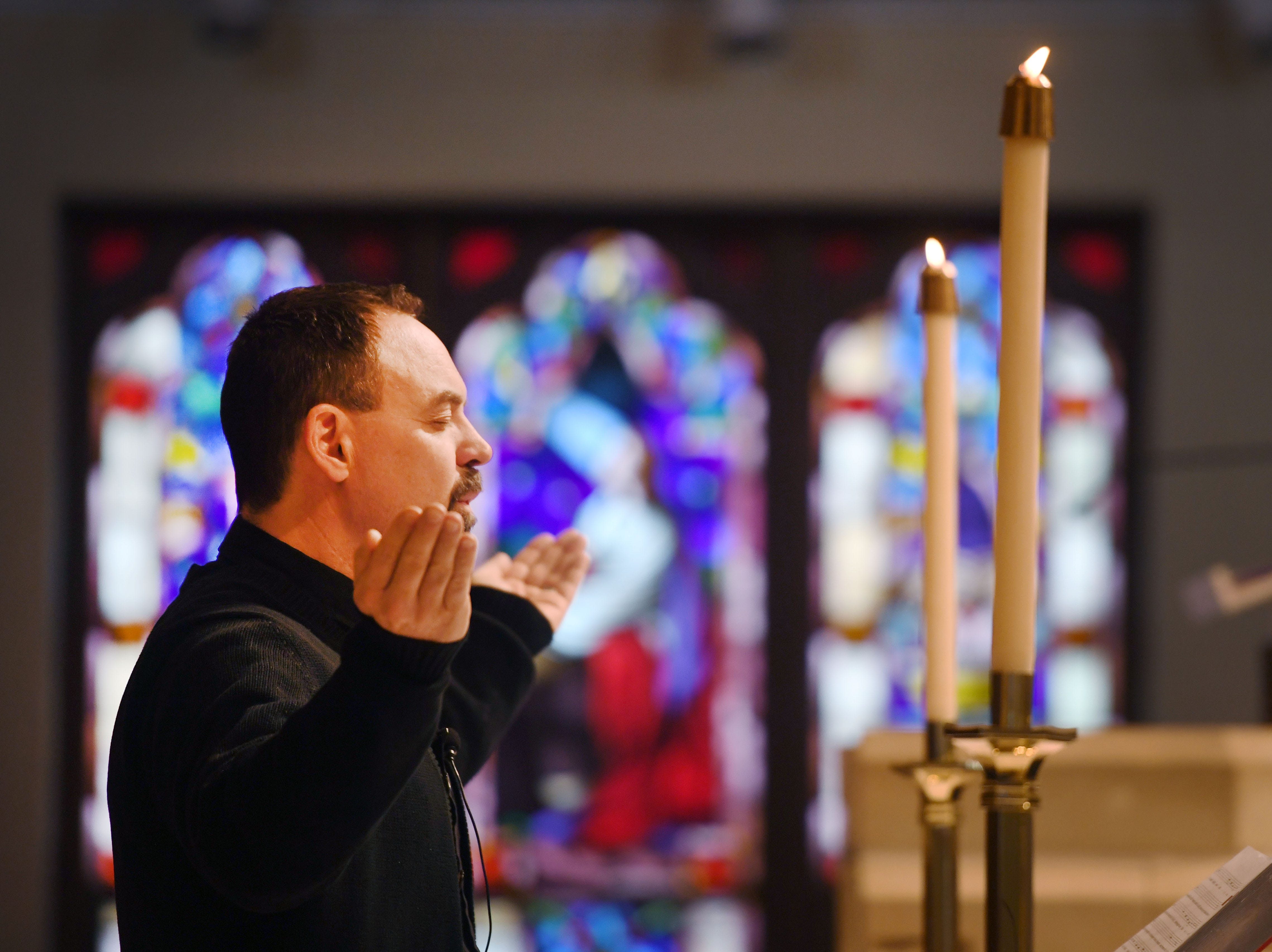 Pastor Layne Nelson during the noon service at East Side Lutheran Church Wednesday, April 10,  in Sioux Falls.