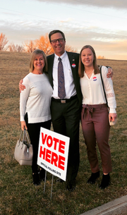 Paul Lundberg with wife, Sandi (left) and daughter, Kate, at the polling place on Tuesday, April 9.